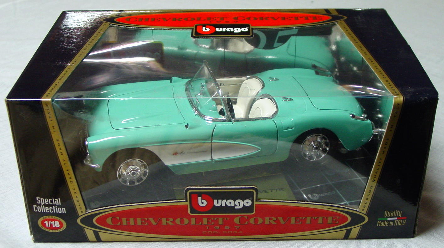 1_18 Scale - BURAGO 57 Chevy Vette pale green-blue