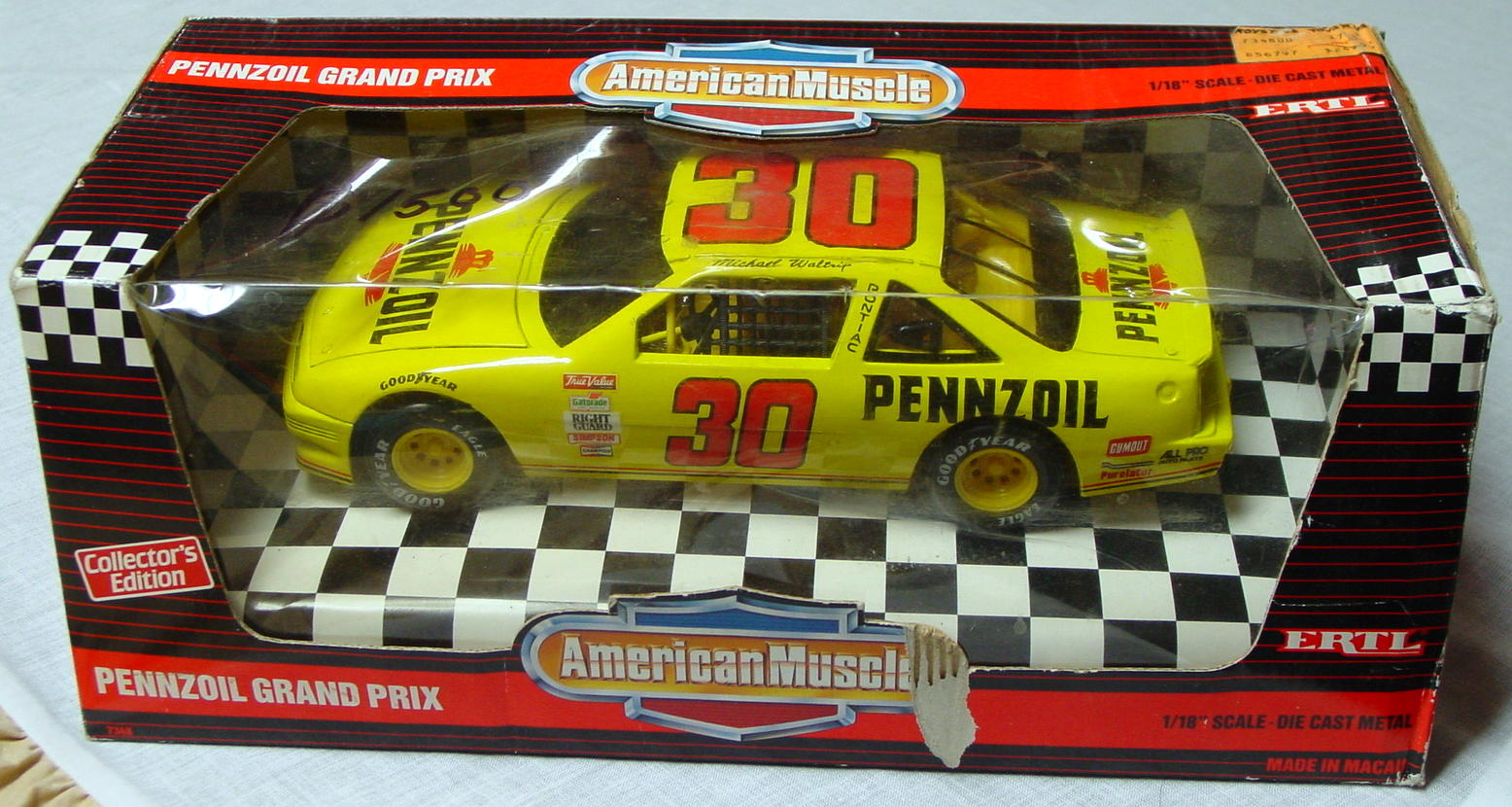 1_18 Scale - ERTL Michael Waltrip yellow Grand Prix C8 box