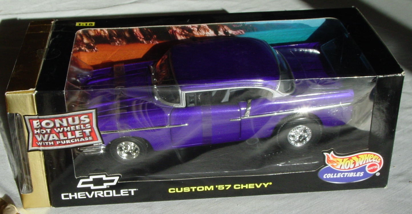 1_18 Scale - HW Custom 57 Chevy Purple with wallet