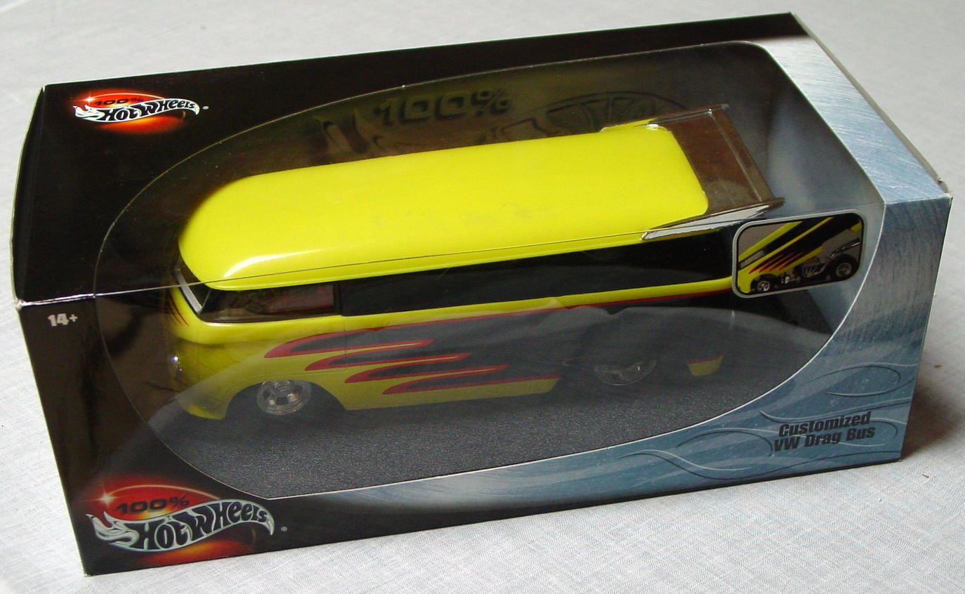 1_18 Scale - HW VW Drag Bus yellow and black with flames