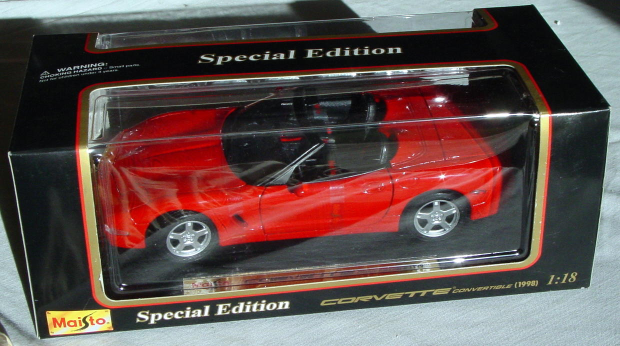 1_18 Scale - MAISTO 1998 Corvette Conv Red