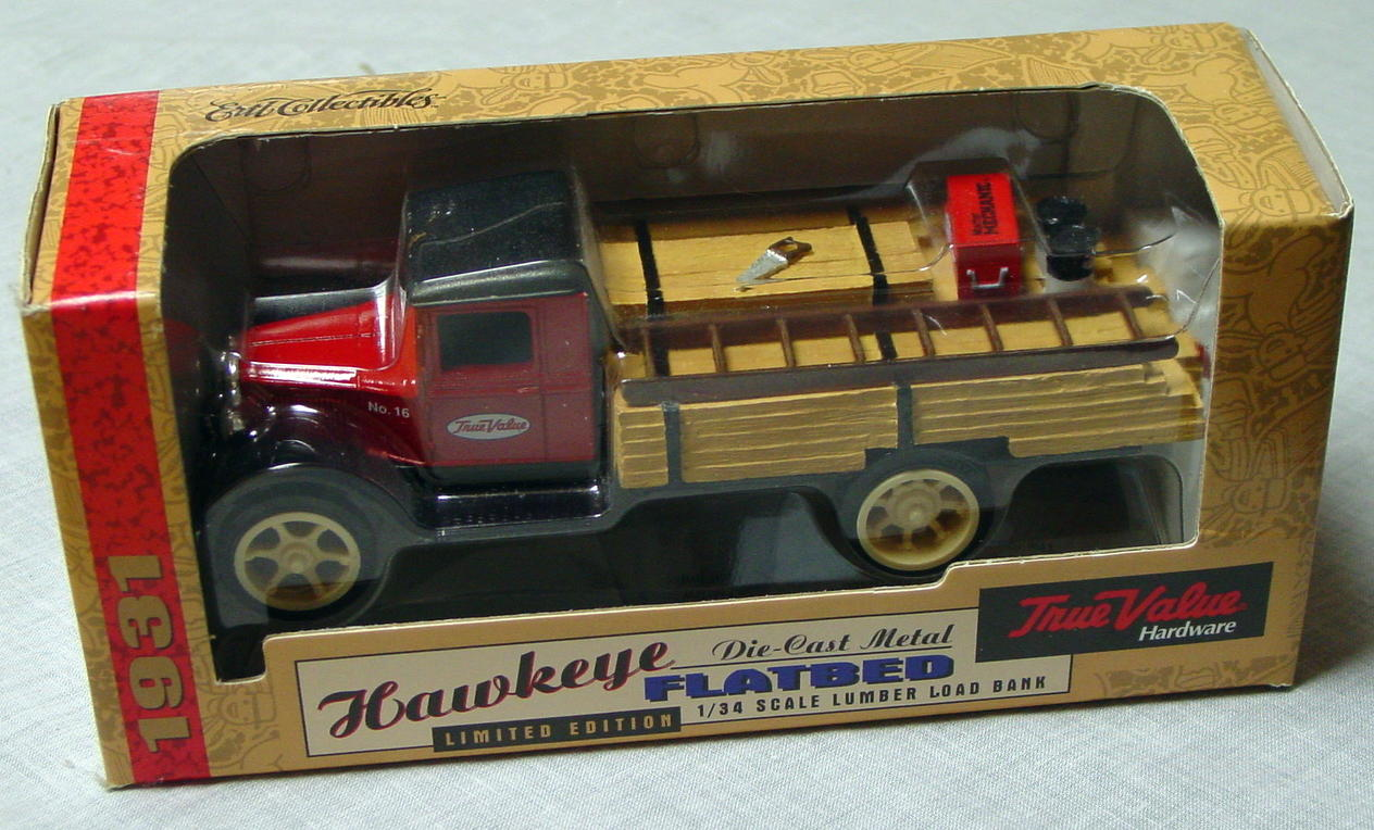1_24 Scale - ERTL Hawkeye Flatbed Tru Value bank 1:34 scale