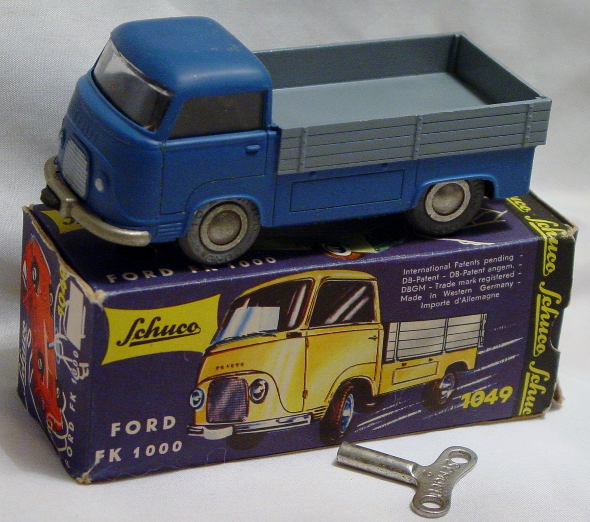 Schuco 1049 - Ford FK-100 Blue and Grey West Germany roof scuff C9 box