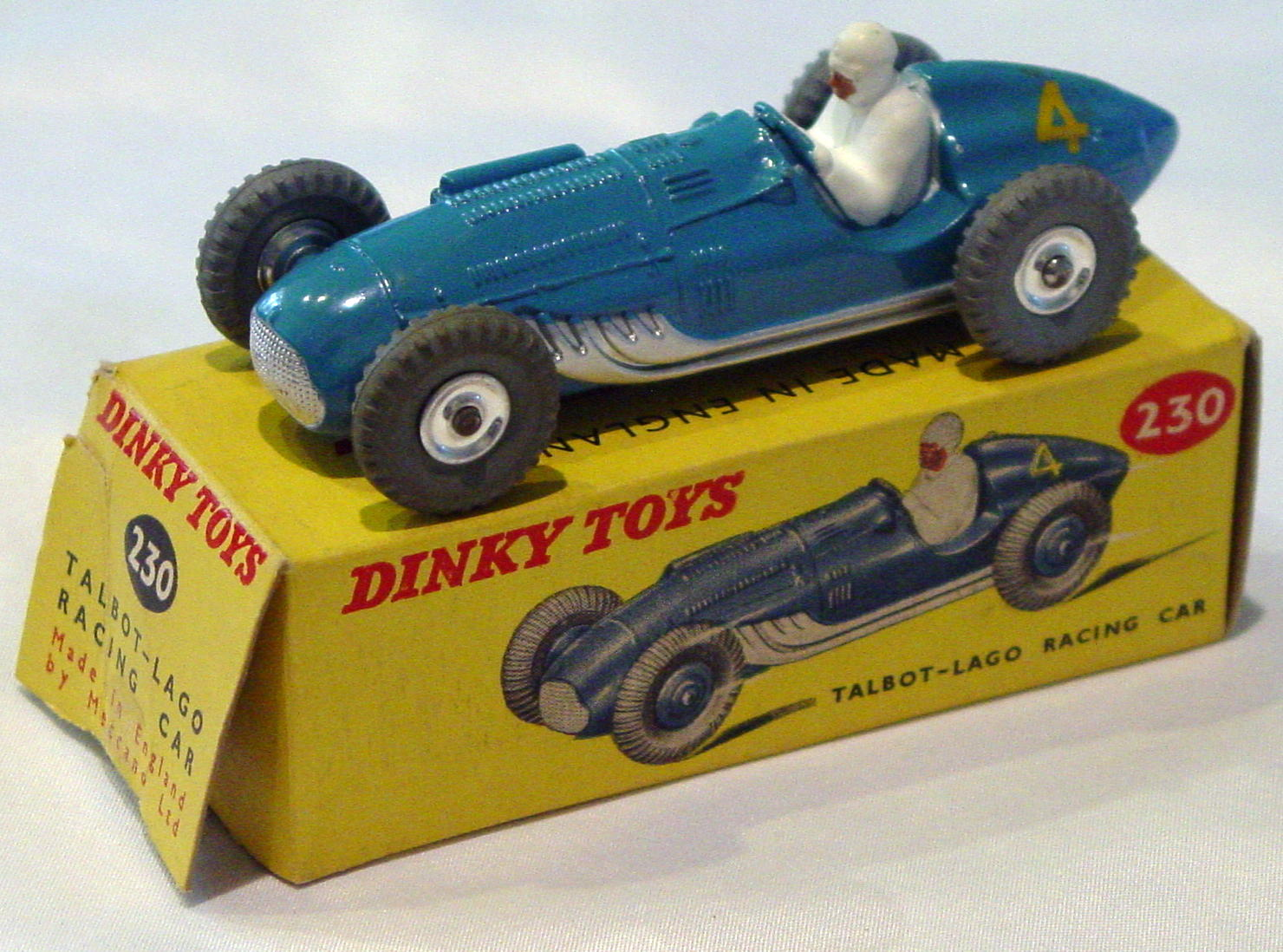 Dinky 230 - Talbot Lago spun hubs one slight chip C9 box 1 loose flap