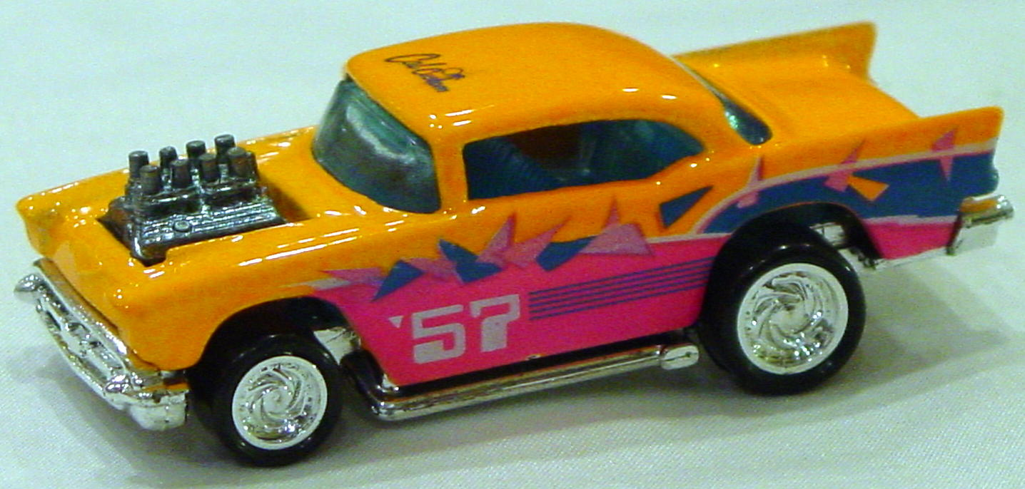 Blackwalls 1297 H 3 - 57 Chevy Brit Orange blue Cal Custom TWGN