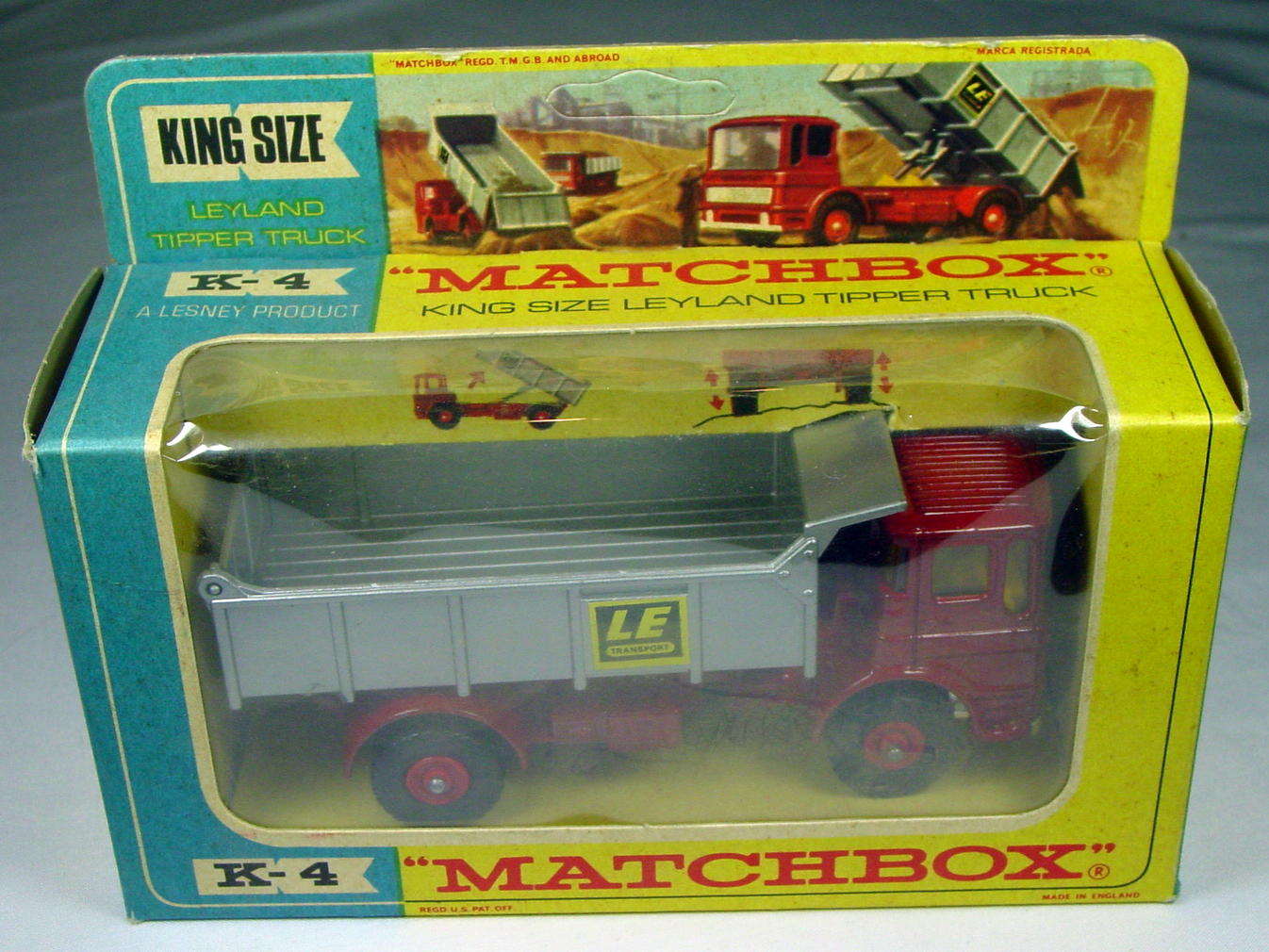 King Size 04 C 1 - Leyland Tip Red and silver LE Transport C9 unp tab box