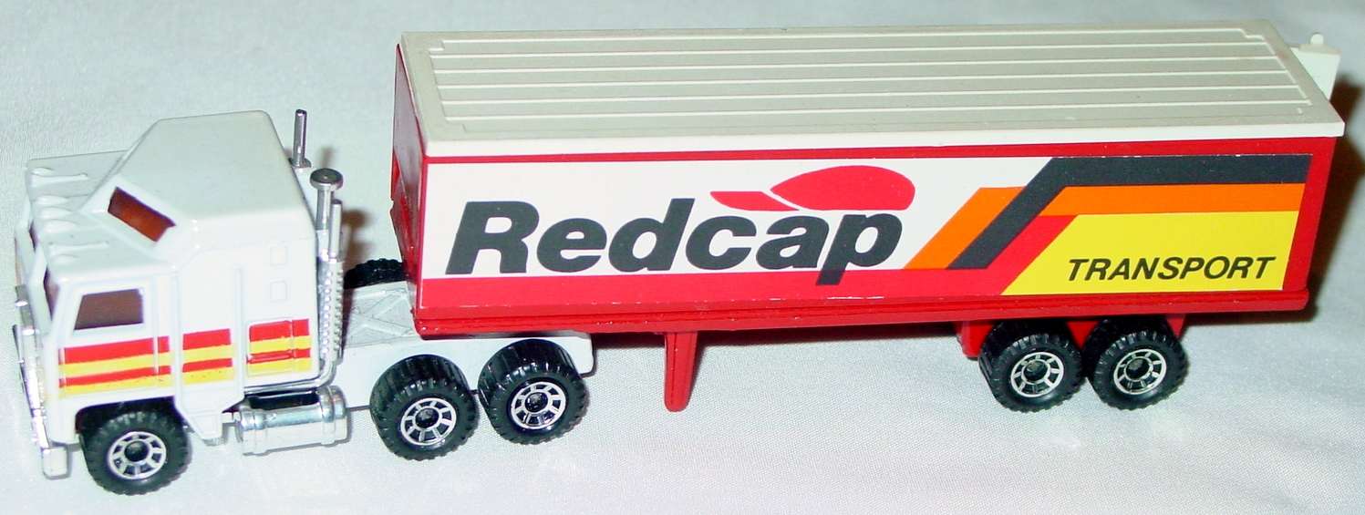 Convoy 08 A 10 - Kenworth Box Truck White Redcap orange and yellow tampo white roof