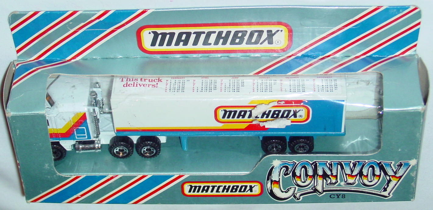 Convoy 08 A 14 - Kenworth White 45-crown MATCHBOX This Truck Delivers1988Made in Macau