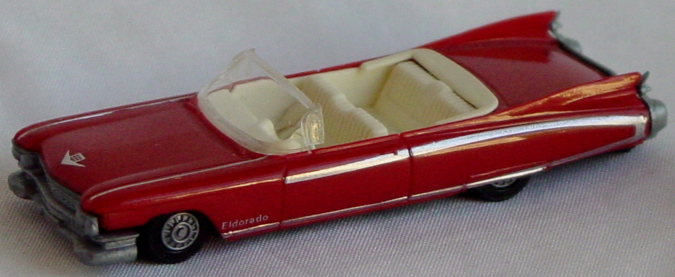 87 - PRALINE 59 Cadillac Red convertible loose windshield