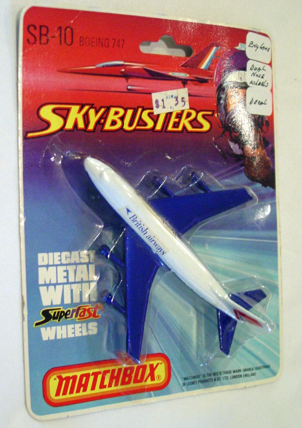 Sky Buster 10 A 3 - Boeing 747 White thick axle Brit Airways labels ENG C9 BP