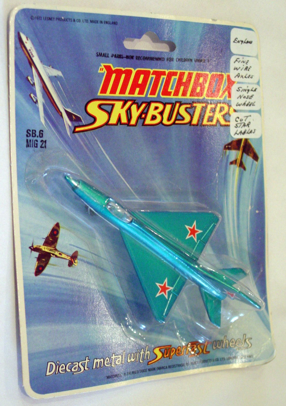 Sky Buster 06 A 2 - MIG 21 Blue and white cut star tail label thin axle ENG C8.5BP