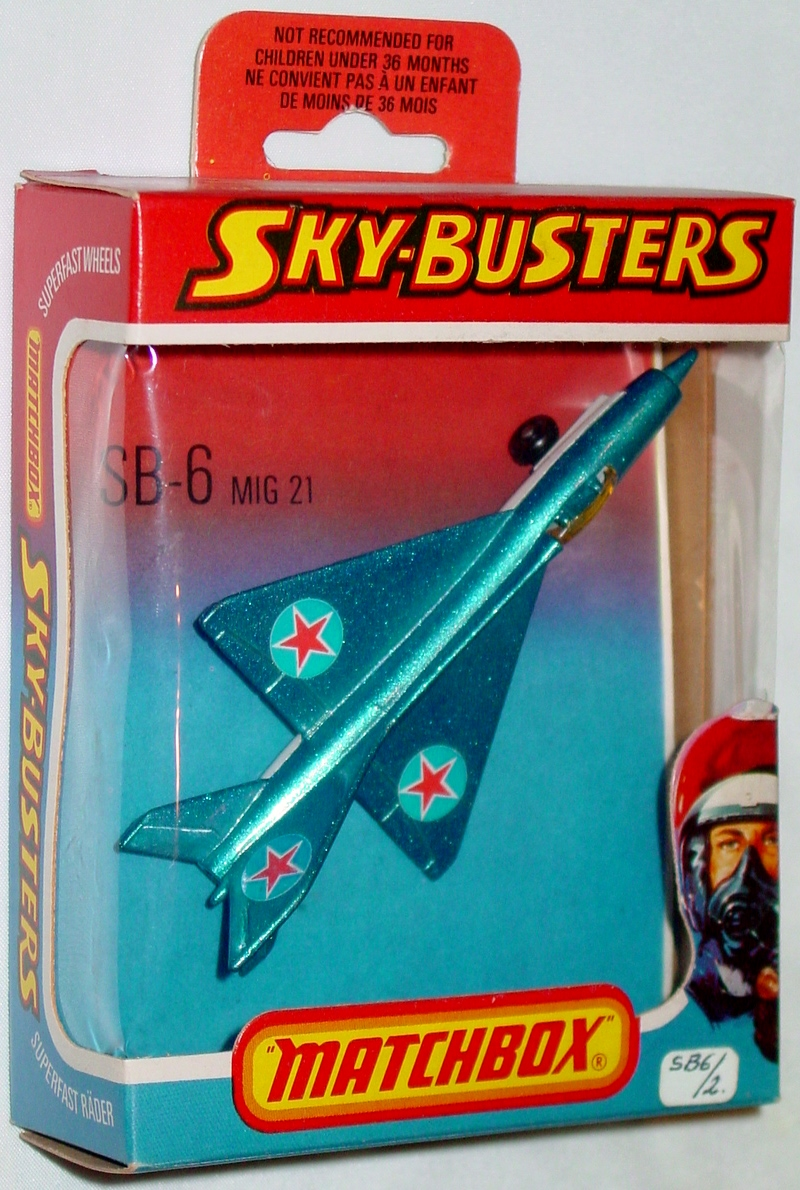 Sky Buster 06 A 5 - MIG 21 sil-Blue and white roundstar label thick axles ENGLAND