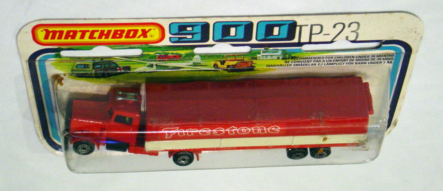 Twin Pack 23 A 2 - Red Covered Container Truck Outlined Firestone C9