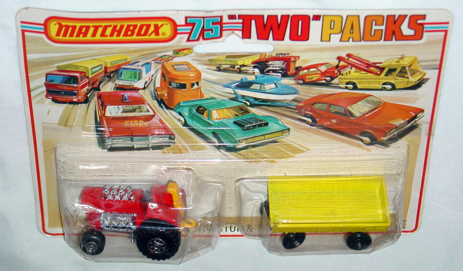 Twin Pack 02 A 1 - red 25B8 Mod Tractor yellow 40C2 RW C9 Tall card