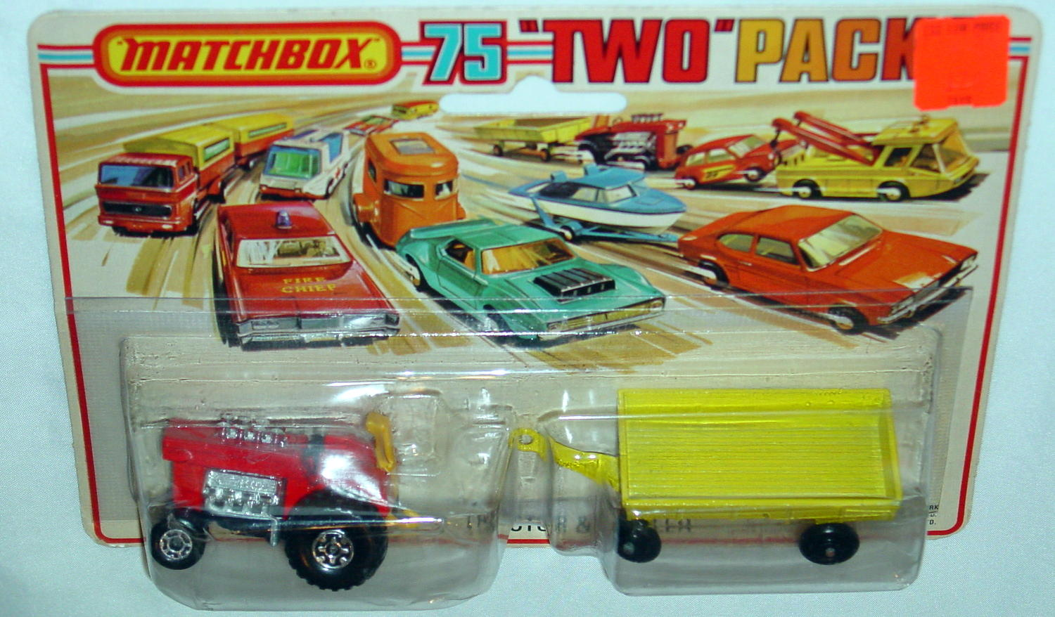 Twin Pack 02 A 1 - red 25B9 Mod Tractor yellow 40C2 RW C9+ Tall card