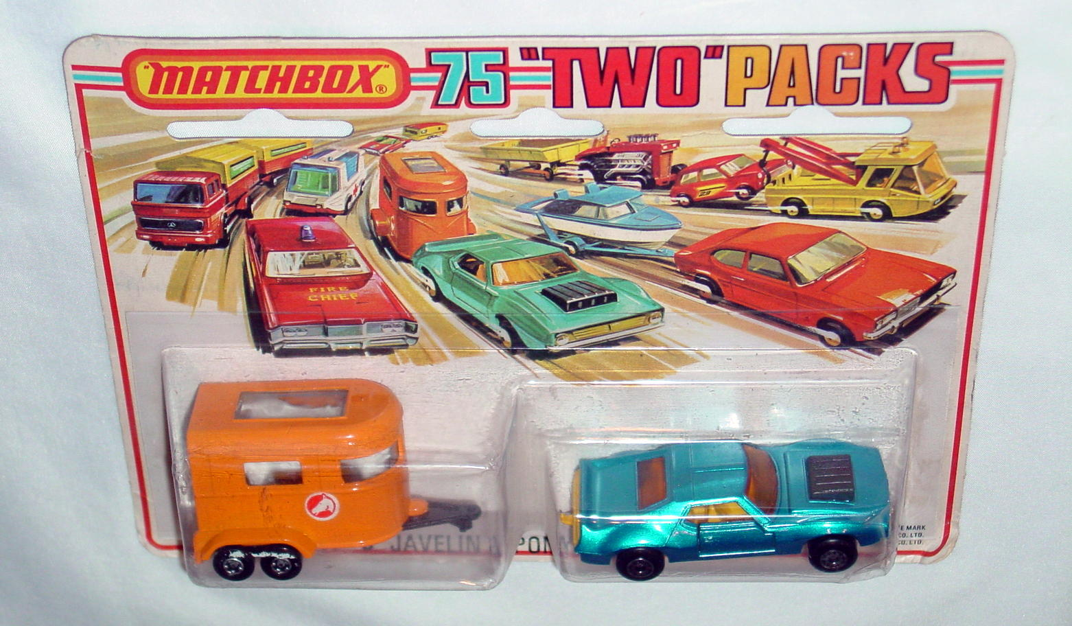 Twin Pack 03 A 2 - met Blue 9B16 Javelin org43A3 Pony trailer C9 Tallcard