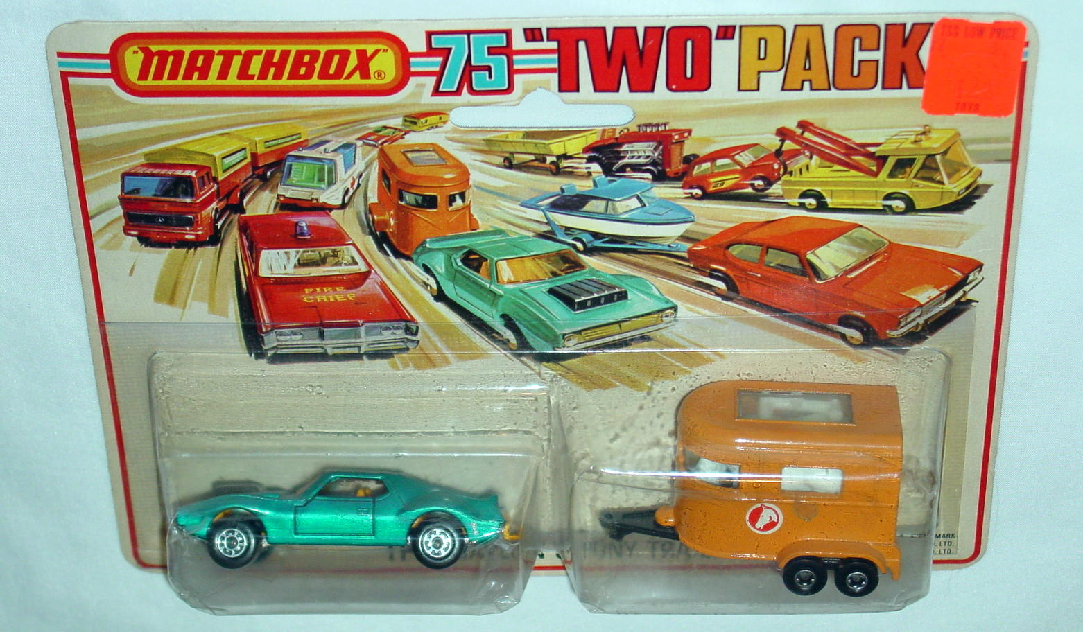 Twin Pack 03 A 2 - met Blue 9B13 Javelin orange 43A3 Pony trailer C9+ Tall