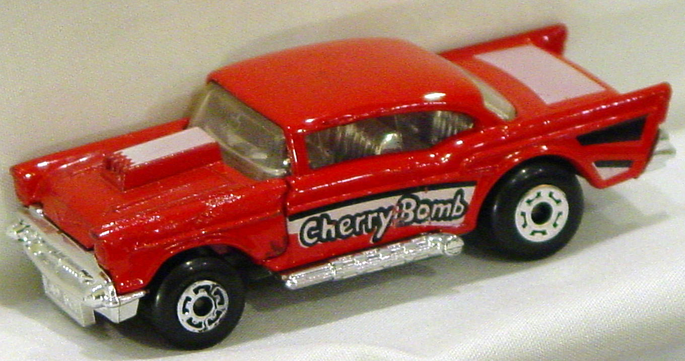 Lesney SuperFast 04 D 2 - 57 Chevy red unp base Cherry Bomb paint hood three slight chips