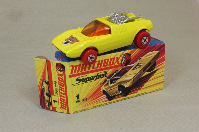 Lesney SuperFast 01 B 1 - Mod Rod yellow Red Wheels C10 H box
