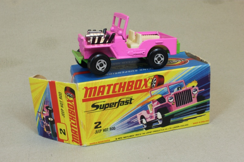 Lesney SuperFast 02 B 2 - Hot Rod Jeep Pink/green two slight chips C9 H no new