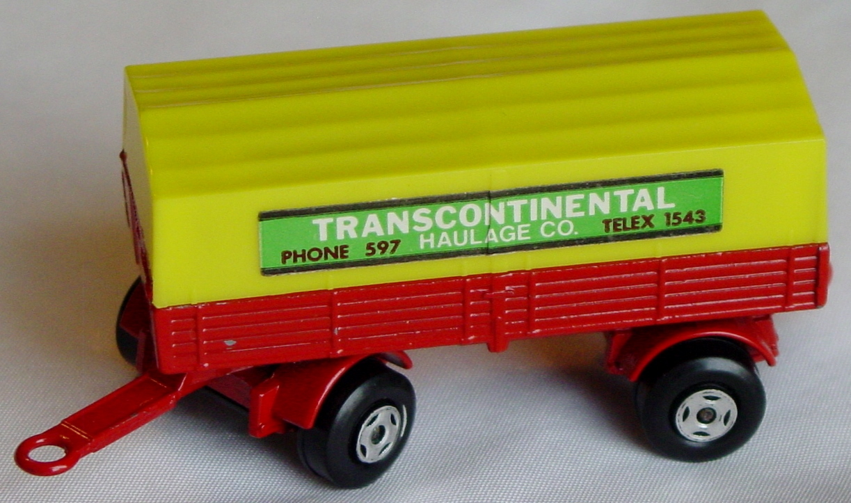 Lesney SuperFast 02 A 3 - Merc Trailer Red and yellow Transcontinental two slight chips