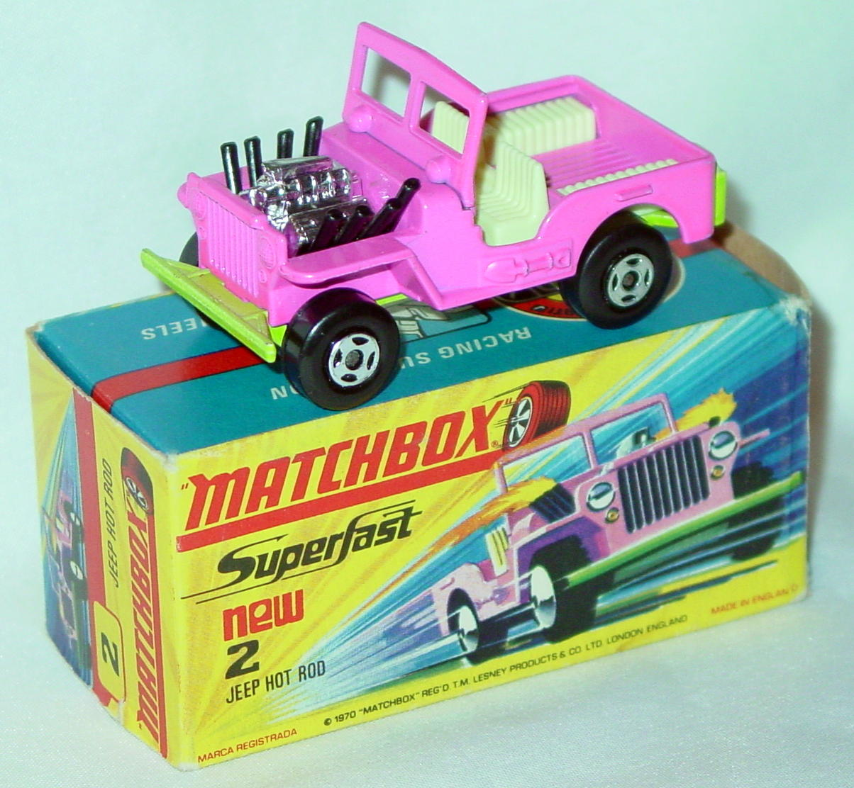 Lesney SuperFast 02 B 1 - Hot Rod Jeep Pink/lt green C9+ H with new