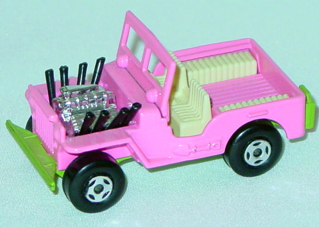 Lesney SuperFast 02 B - Hot Rod Jeep light Pink/green ivory interior