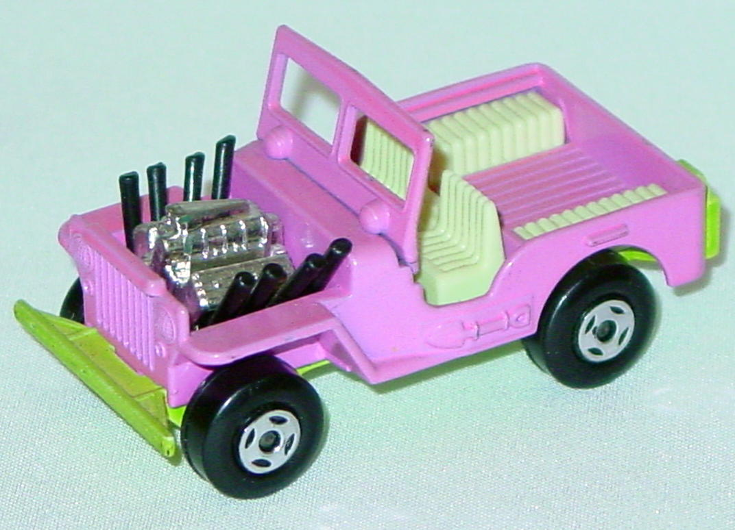 Lesney SuperFast 02 B 1 - Hot Rod Jeep pale Pink/lt green two slight chips