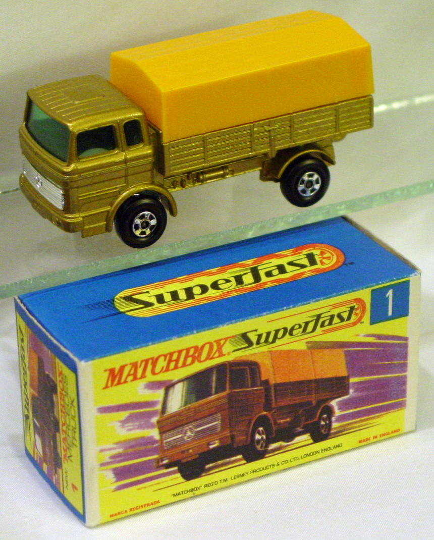 Lesney SuperFast 01 A 4 - Merc Truck Gold/yellow 4-spk red axle cov C9.5+ G box