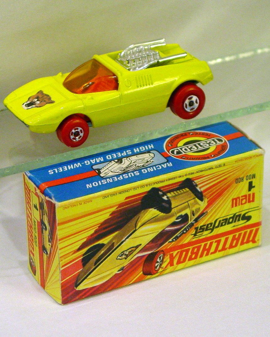Lesney SuperFast 01 B 1 - Mod Rod yellow Red Wheels C9+ H box with new