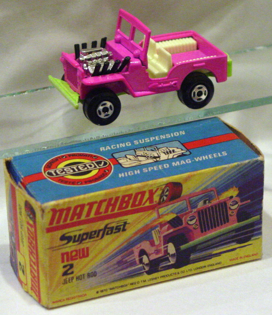 Lesney SuperFast 02 B 1 - Hot Rod Jeep Pink/lt green C9- H with new