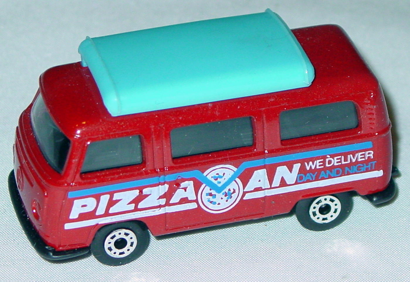 Hungarian 23 A 10 - Pizza Van Brick light blue top black interior black white and blue tampo
