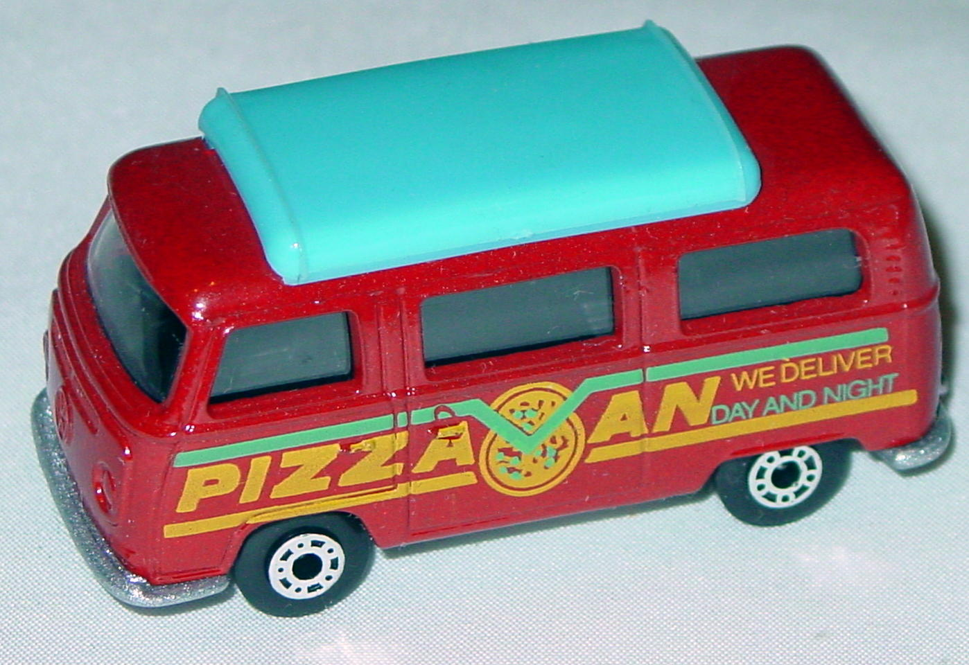 Hungarian 23 A 10 - Pizza Van Brick light blue top black interior metallic silver-grey yellow and green tampo