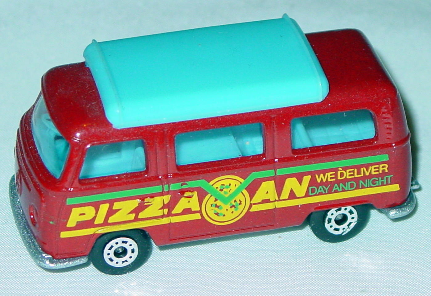 Hungarian 23 A 10 - Pizza Van Brick light blue top blue interior metallic silver-grey yellow and green tampo