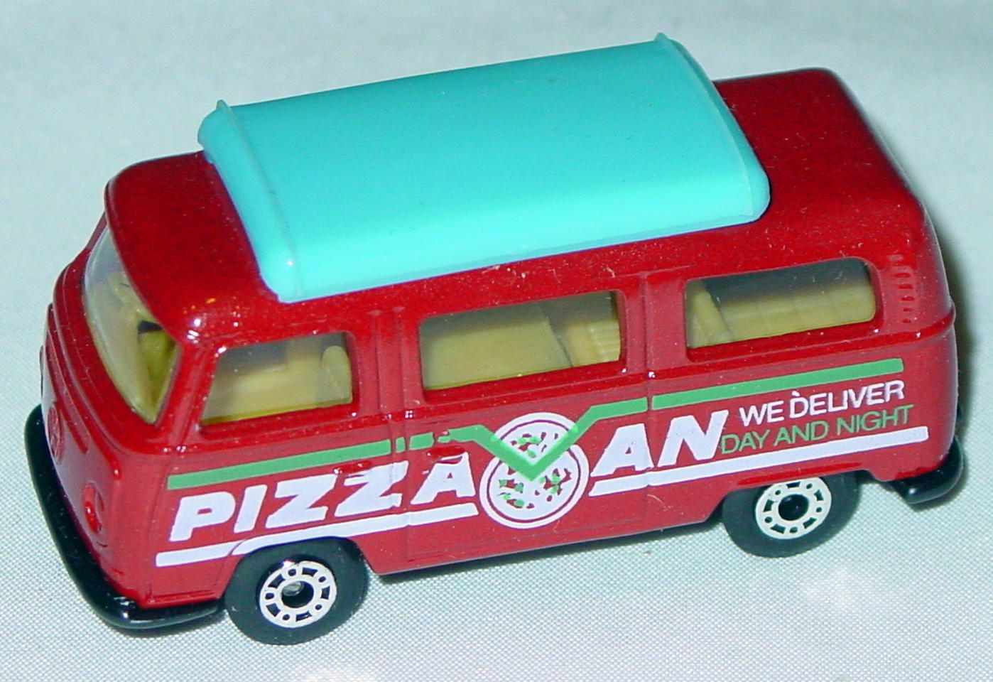 Hungarian 23 A 10 - Pizza Van Brick light blue top yellow interior black white and green tampo