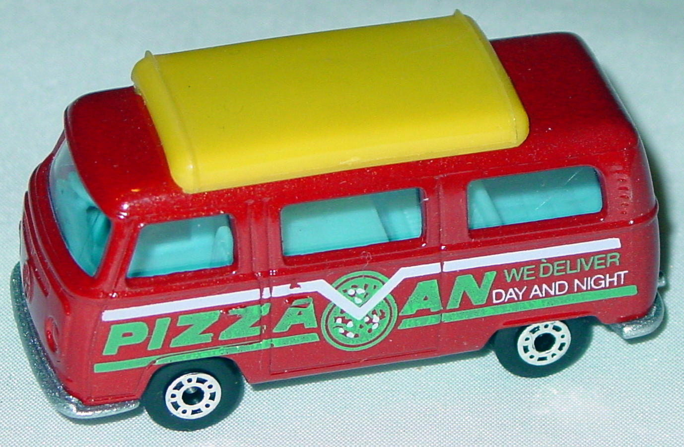 Hungarian 23 A 10 - Pizza Van Brick yellow top blue interior metallic silver-grey green and white tampo