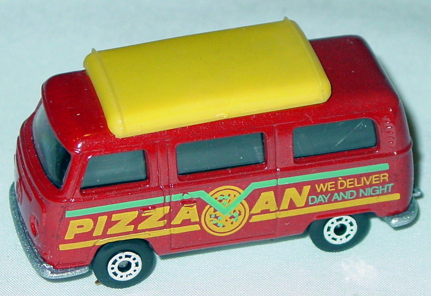 Hungarian 23 A 10 - Pizza Van Brick yellow top black interior metallic silver-grey yellow and green tampo