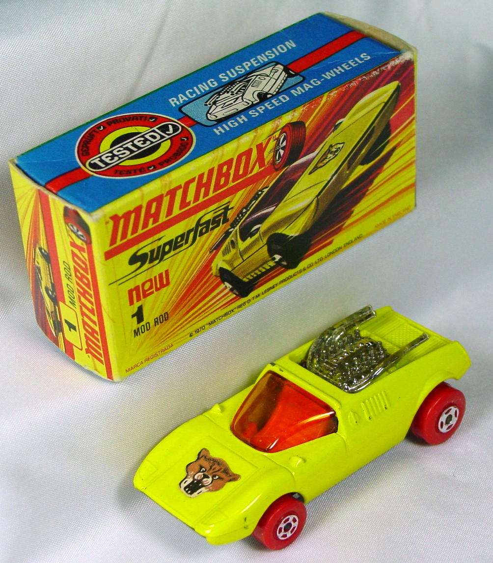 Lesney SuperFast 01 B 1 - Mod Rod yellow Red Wheels (Very Near Mint) C9.5 H box