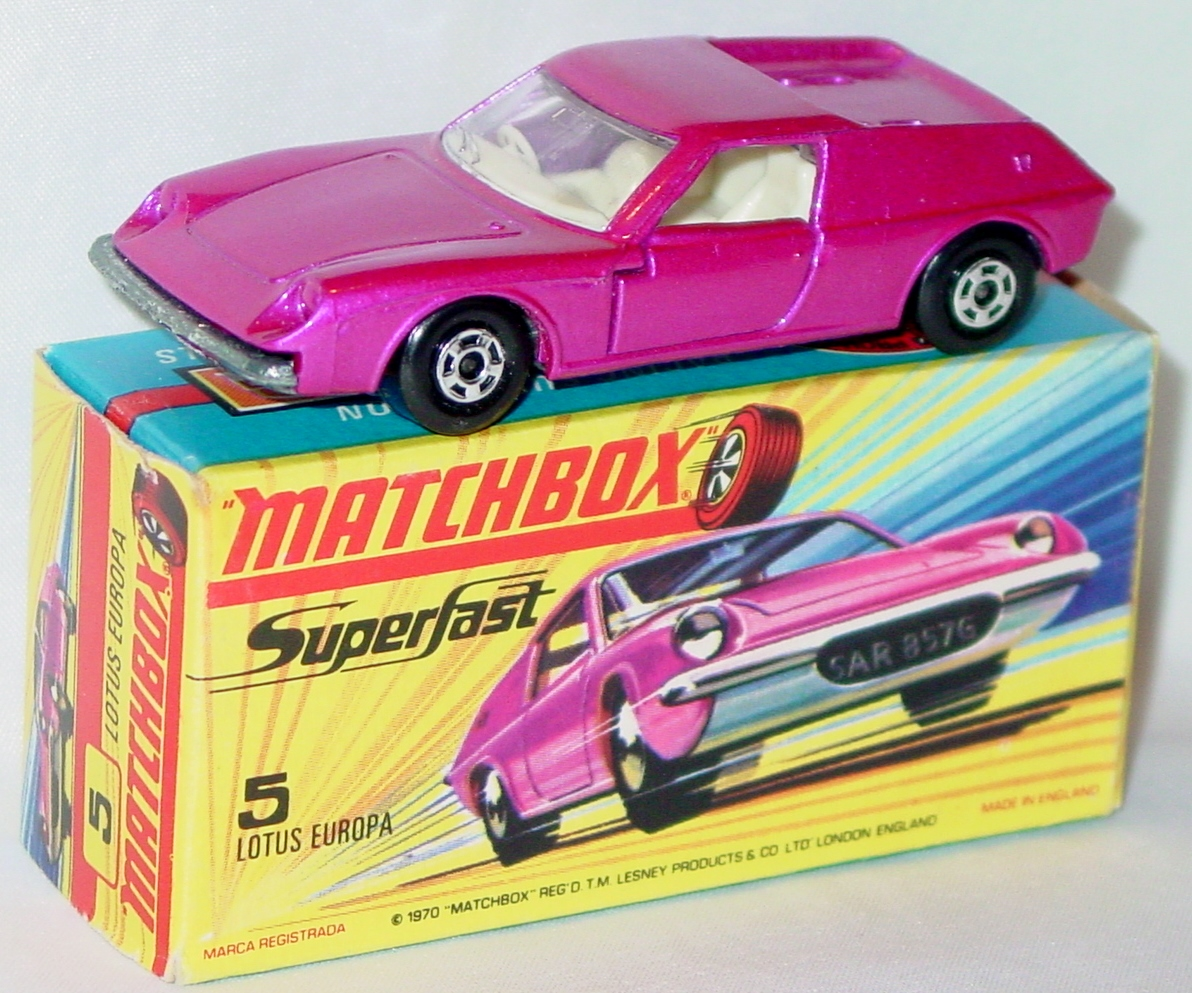 Lesney SuperFast 05 A 4 - Lotus Europa pink thick wheels C9.5 H box no new
