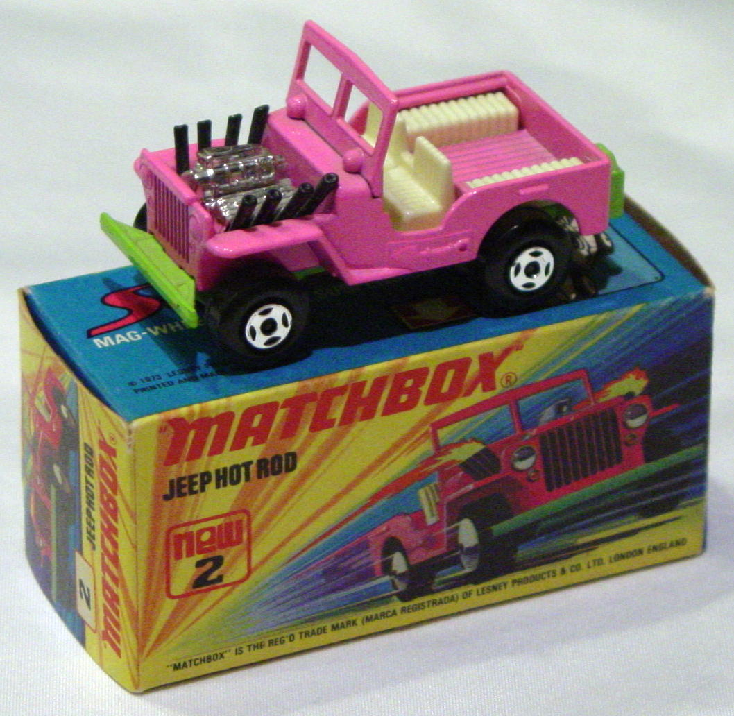 Lesney SuperFast 02 B 1 - Hot Rod Jeep Pink/lt green C10 I box with new