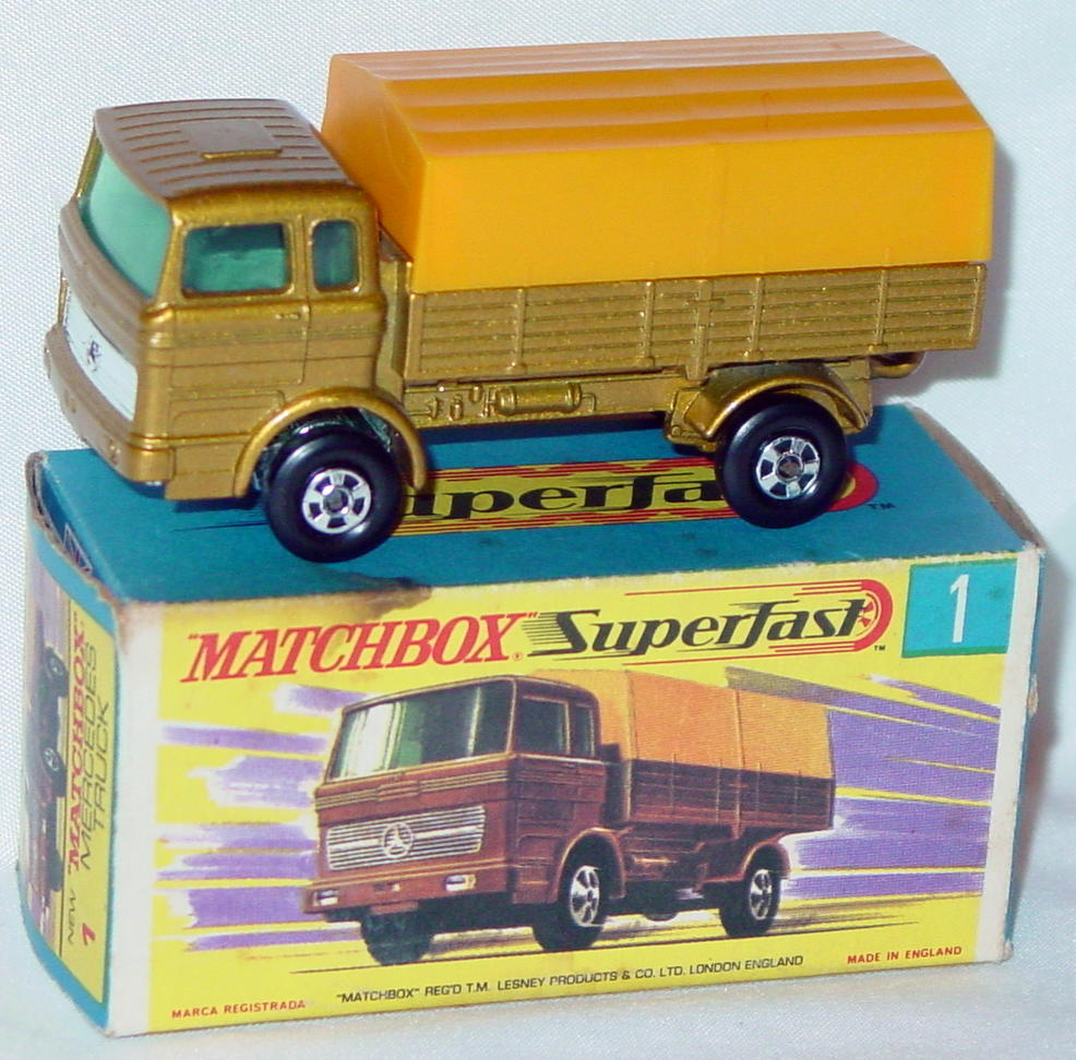 Lesney SuperFast 01 A 3 - Merc Truck Gold/yellow 5-spoke red axle cov C9- G box